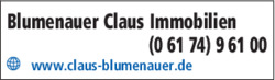 Anzeige Blumenauer, Claus Immobilien