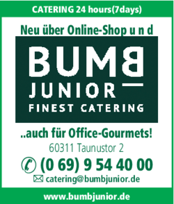 Anzeige Catering BUMB JUNIOR Finest Catering