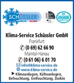 Anzeige Klima-Service Schüssler GmbH