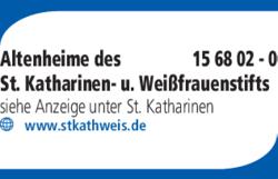 Anzeige Altenheime des St. Katharinen- u. Weißfrauenstifts