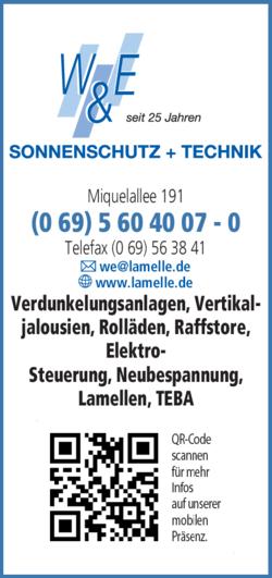 Anzeige W & E Sonnenschutz + Technik