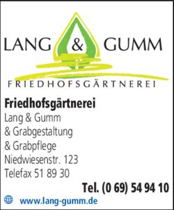 Anzeige Friedhofsgärtnerei Lang & Gumm