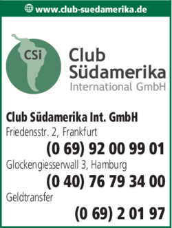 Anzeige Club Südamerika International GmbH
