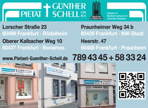 Anzeige Bestattungen Pietät Günther Schell GmbH