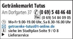 Anzeige Getränkemarkt Tutus