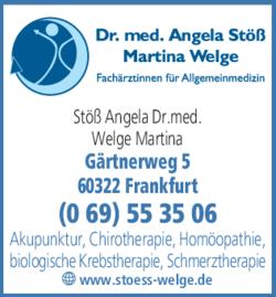 Anzeige Gemeinschaftspraxis Dr. med. Angela Stöß & Martina Welge