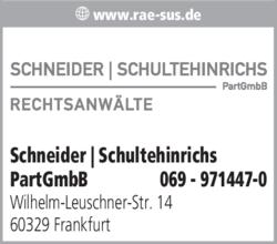 Anzeige Schneider | Schultehinrichs PartGmbB