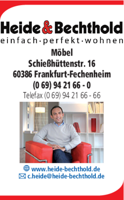 m bel heide bechthold in frankfurt fechenheim im das telefonbuch finden tel 069 94 21. Black Bedroom Furniture Sets. Home Design Ideas