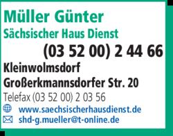 s chsischer haus dienst g nter m ller in kleinwolmsdorf. Black Bedroom Furniture Sets. Home Design Ideas
