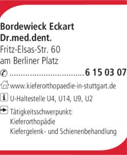 Anzeige Bordewieck Eckart Dr.med.dent. Praxis für Kieferorthopädie
