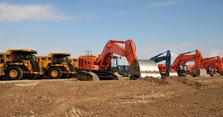 Baumaschinen, Bagger, Kran, Baustelle, Bauarbeiter