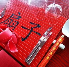 China, Restaurant, Essstäbchen, Teller, Schriftzeichen