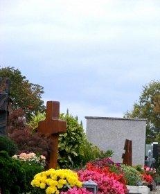 Friedhof, Grab, Blumen, Kreuz, Trauer