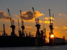 Hafen, Hamburg, Sonnenuntergang, Cargo