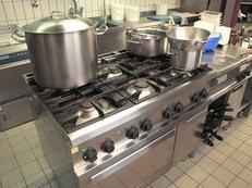 Küche, Großküche, Töpfe, Gasherd