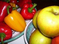 Paprika, Äpfel, Obst und Gemüse