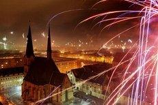 Feuerwerk, Silvester, Osten, Zwickau, Nacht, Stadt
