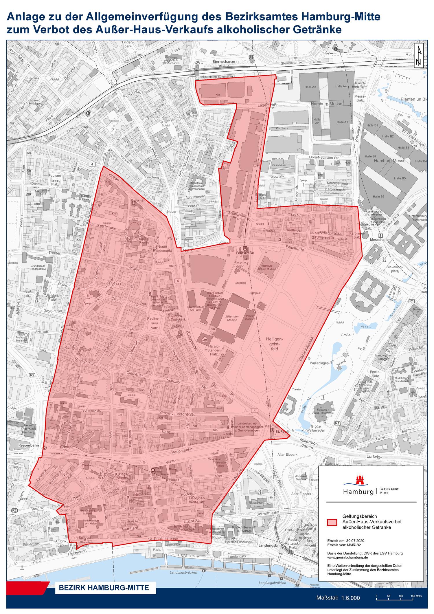 Karte Alkoholverbot Hamburg-Mitte