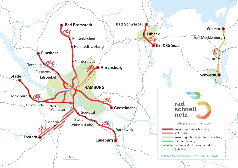 Pressekarte: Radschnellwege Hamburg