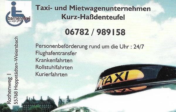 Taxi und Mietwagenunternehmen Kurz-Haßdenteufel