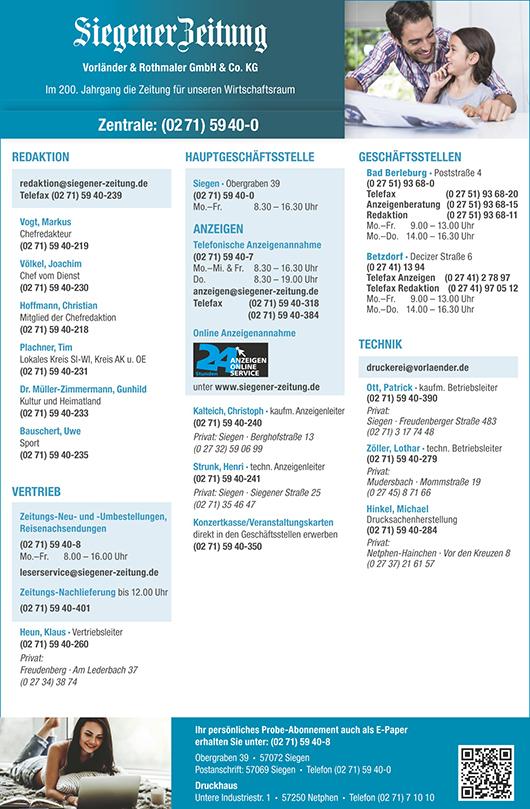 Anzeige Siegener Zeitung Vorländer & Rothmaler GmbH & Co. KG