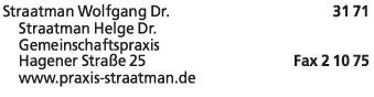 Anzeige Straatman Wolfgang Dr.med.dent. Zahnarzt