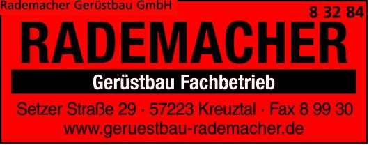 Anzeige Gerüstbau Rademacher GmbH