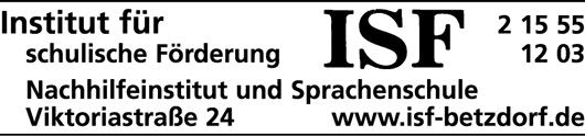 Anzeige Institut für schulische Förderung ISF